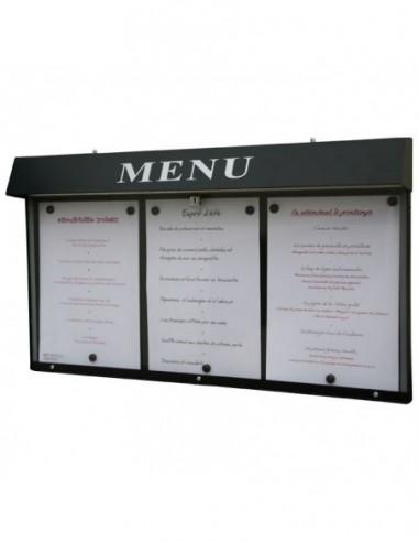 Porte menu Club 3pgs mural n/lumineux