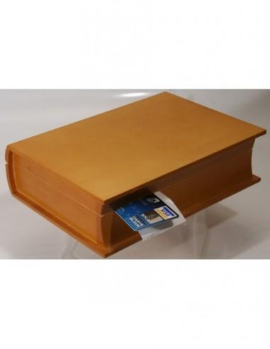 Porte-addition - livre en bois vernis